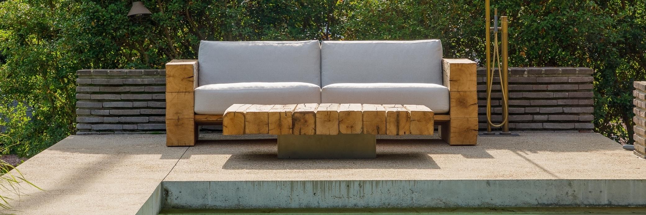 Outdoor Rustic Wood Coffee Table   Made in France   Oakâme